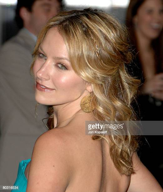 Actress Becki Newton arrives at the Trembled Blossoms Presented by Prada at the Prada Beverly Hills Epicenter on March 19 2008 in Beverly Hills...