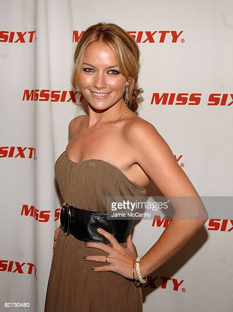 Actress Becki Newton attends the Miss Sixty Spring 2009 fashion show during MercedesBenz Fashion Week at The Tent Bryant Park on September 7 2008 in...