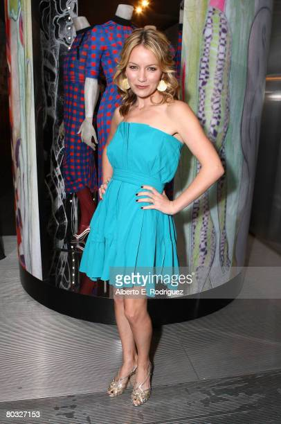 Actress Becki Newton wearing Miu Miu attends the Los Angeles screening of Trembled Blossoms presented by Prada on March 19 2008 in Beverly Hills...