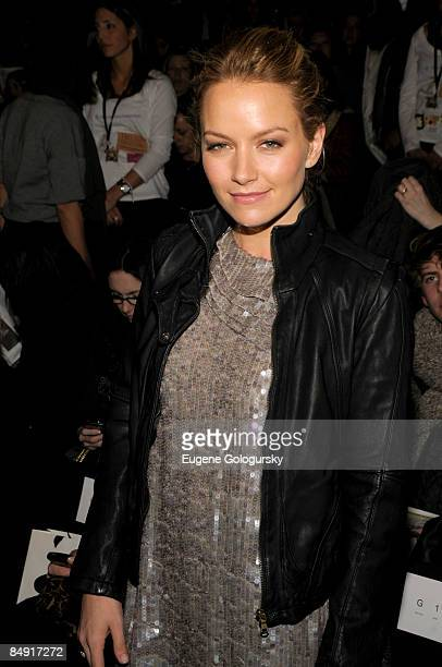 Actress Becky Newton attends the 3.1 Phillip Lim Fall 2009 during Mercedes-Benz Fashion Week at The Tent in Bryant Park on February 18, 2009 in New...