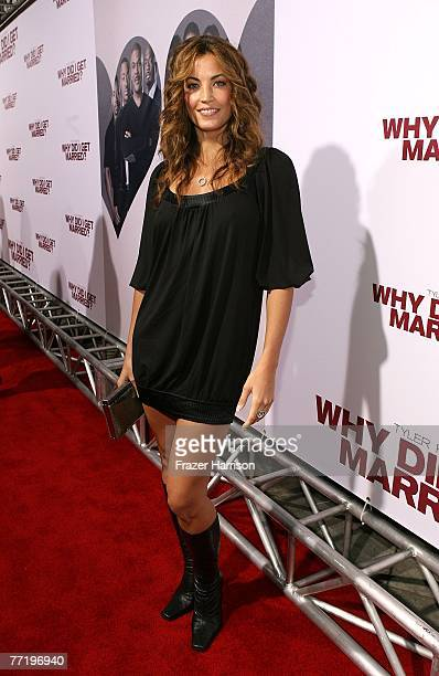 Actress Becky O'Donohue poses at Lionsgate's Premiere Of Why Did I Get Married held at The Cinerama Dome Arclight Hollywood on October 4 2007 in Los...