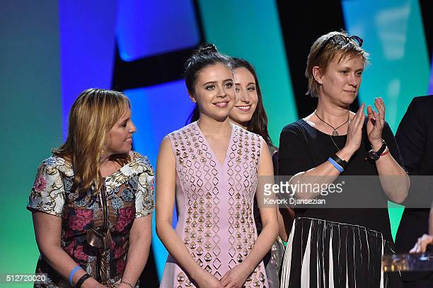 Actress Bel Powley and cast/crew accept the Best First Feature award for 'The Diary of a Teenage Girl' onstage during the 2016 Film Independent...