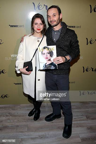 Actress Bel Powley and celebrity photographer Jeff Vespa attend the Verge Sundance 2015 Party at WireImage Studio on January 24 2015 in Park City Utah