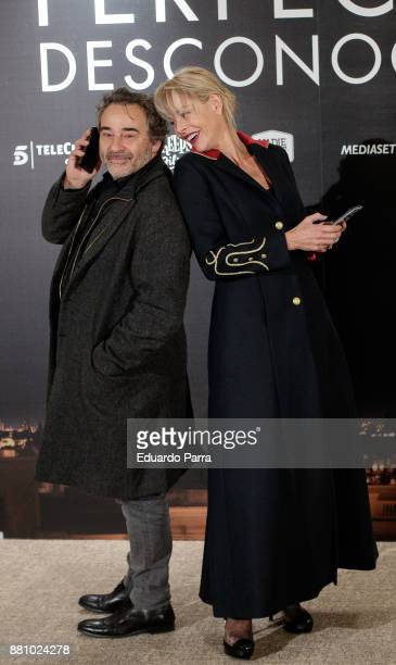 Actress Belen Rueda and actor Eduard Fernandez attend 'Perfectos Desconocidos' photocall at the Hesperia Hotel on November 28 2017 in Madrid Spain