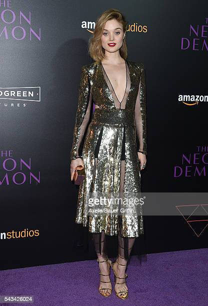 Actress Bella Heathcote arrives at the premiere of Amazon's 'The Neon Demon' at ArcLight Cinemas Cinerama Dome on June 14 2016 in Hollywood California