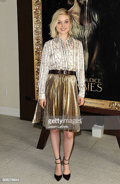 Actress Bella Heathcote attends the cast photo call for 'Pride and Prejudice and Zombies' at The London Hotel on January 22 2016 in West Hollywood...
