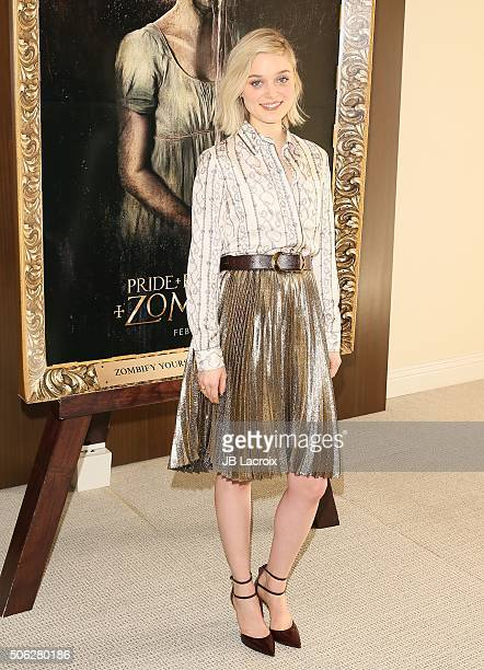 Actress Bella Heathcote attends the photocall of Screen Gems' 'Pride and Prejudice and Zombies' on January 22 2016 in Los Angeles California