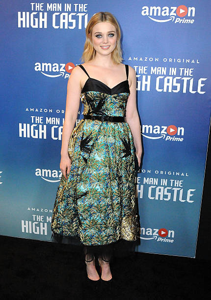 actress bella heathcote attends the premiere of amazons man in the high castle at