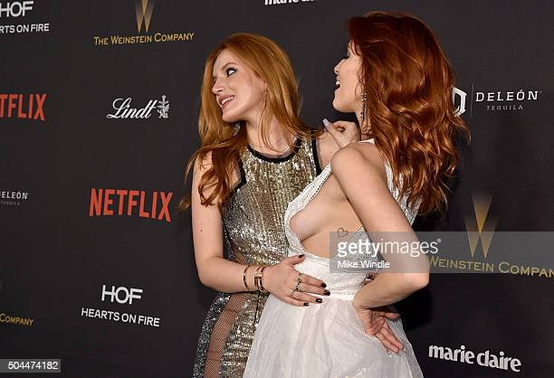 Actress Bella Thorne and Dani Thorne attend The Weinstein Company and Netflix Golden Globe Party presented with DeLeon Tequila Laura Mercier Lindt...