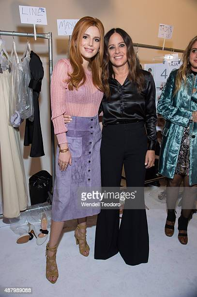 Actress Bella Thorne and Fashion Designer Jill Stuart and pose backstage before the Jill Stuart show at Industria Studios as part of the Spring 2016...