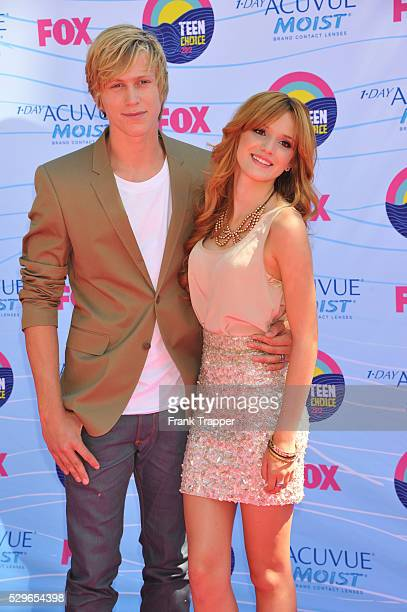 Actress Bella Thorne and guest arrive at the 2012 Teen Choice Awards held at the Gibson Amphitheatre in Universal City California