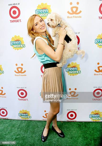 Actress Bella Thorne and her dog Kingston celebrate the Green Works Muddy Puppy video premiere at the Palihouse Hotel in Los Angeles Calif on October...