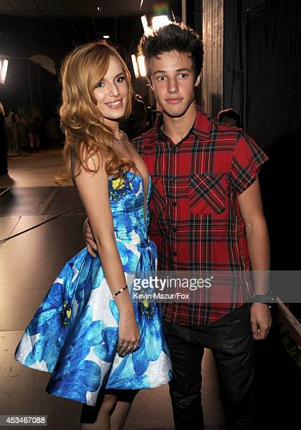Actress Bella Thorne and Internet personality Cameron Dallas attend FOX's 2014 Teen Choice Awards at The Shrine Auditorium on August 10 2014 in Los...