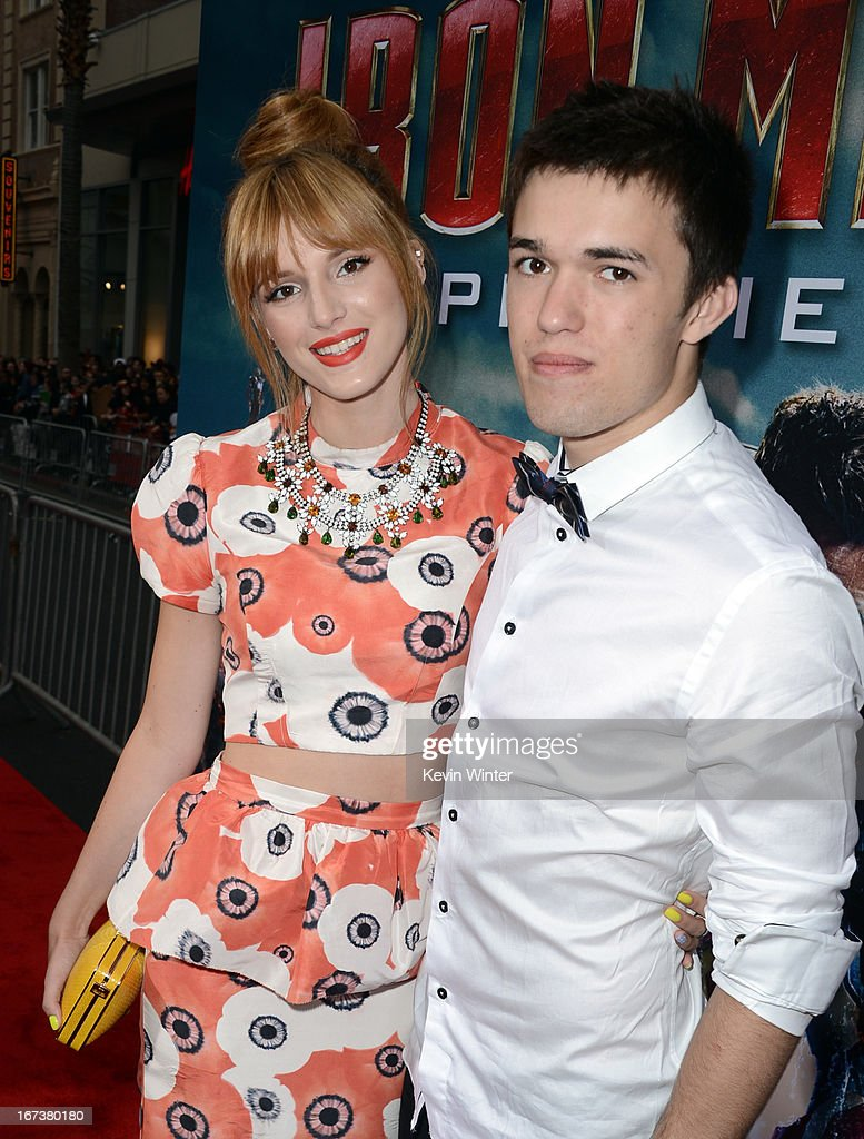 Actress Bella Thorne (L) and Remy Thorne arrive at the 'Iron Man 3' Los Angeles premiere at the El Capitan Theatre on April 24, 2013 in Hollywood, California.