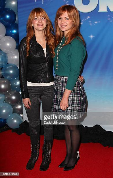 Actress Bella Thorne and sister Kaili Thorne attend the opening night of Disney On Ice's Dare To Dream at LA Kings Holiday Ice at LA LIVE on December...