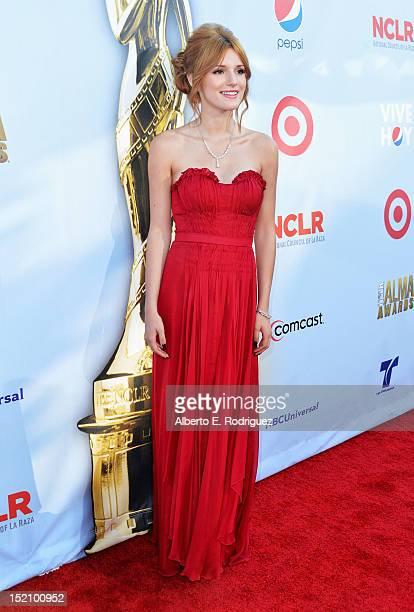 Actress Bella Thorne arrives at the 2012 NCLR ALMA Awards at Pasadena Civic Auditorium on September 16 2012 in Pasadena California