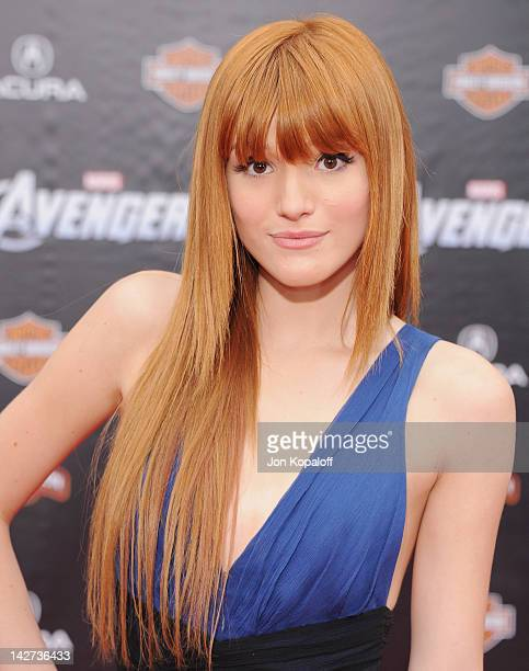 Actress Bella Thorne arrives at the Los Angeles Premiere of 'The Avengers' at the El Capitan Theatre on April 11 2012 in Hollywood California