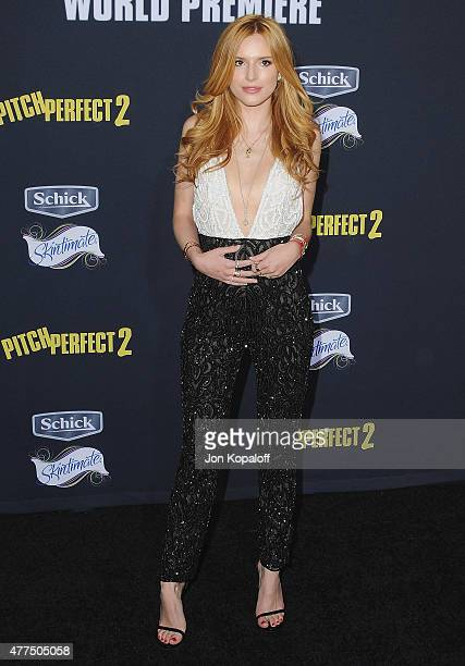 Actress Bella Thorne arrives at the Los Angeles Premiere Pitch Perfect 2 at Nokia Theatre LA Live on May 8 2015 in Los Angeles California