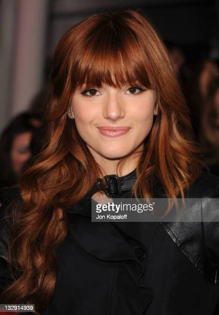 Actress Bella Thorne arrives at the Los Angeles Premiere 'The Twilight Saga Breaking Dawn Part 1' at Nokia Theatre LA Live on November 14 2011 in Los...