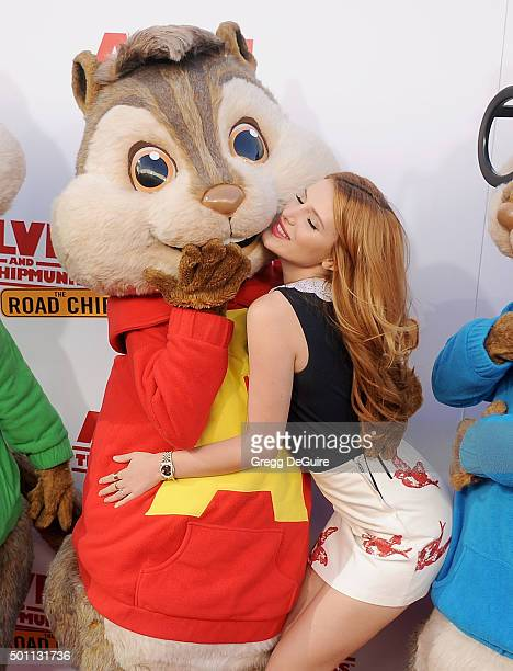 Actress Bella Thorne arrives at the premiere of 20th Century Fox's Alvin And The Chipmunks The Road Chip at Zanuck Theater at 20th Century Fox Lot on...