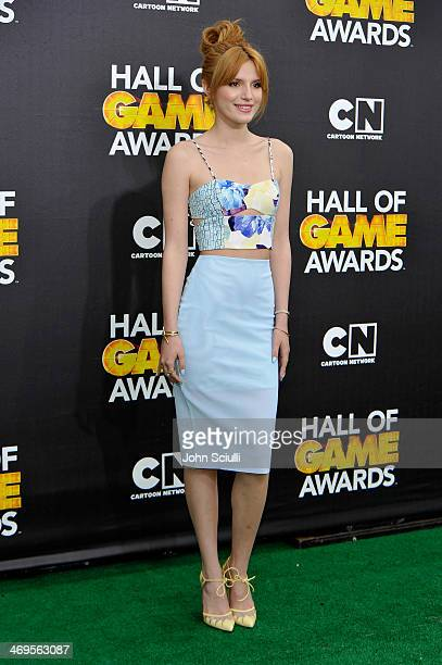 Actress Bella Thorne attends Cartoon Network's fourth annual Hall of Game Awards at Barker Hangar on February 15 2014 in Santa Monica California