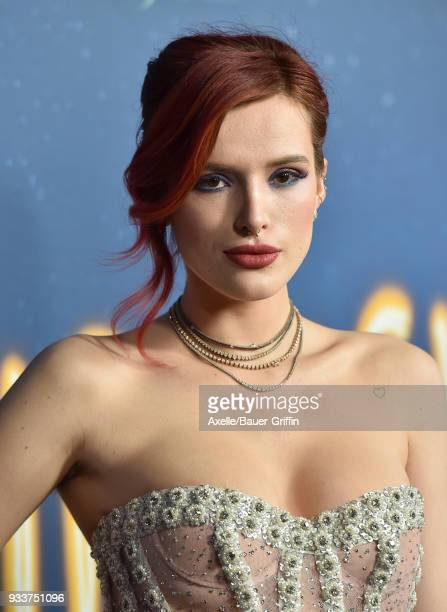 Actress Bella Thorne attends Global Road Entertainment's world premiere of 'Midnight Sun' at ArcLight Hollywood on March 15 2018 in Hollywood...