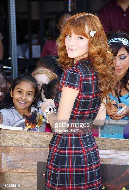 Actress Bella Thorne attends the premiere of Dreamworks Animation's 'Puss In Boots' at the Regency Village Theater on October 23, 2011 in Westwood,...