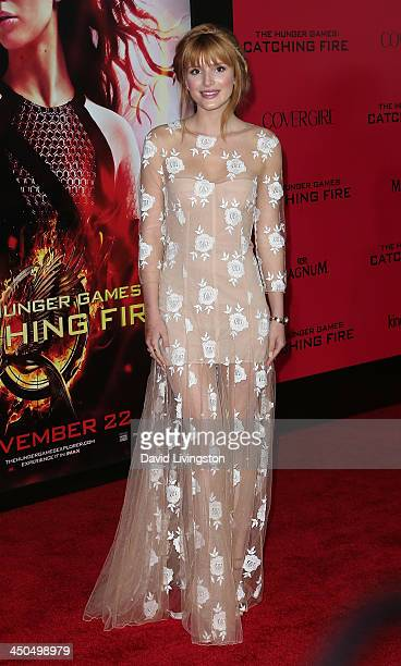 """Actress Bella Thorne attends the premiere of Lionsgate's """"The Hunger Games: Catching Fire"""" at Nokia Theatre L.A. Live on November 18, 2013 in Los..."""