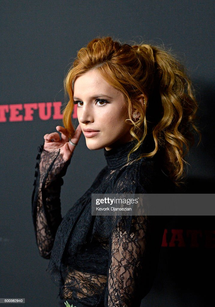 Actress Bella Thorne attends the premiere of The Weinstein Company's 'The Hateful Eight' at ArcLight Cinemas Cinerama Dome on December 7, 2015 in Hollywood, California.