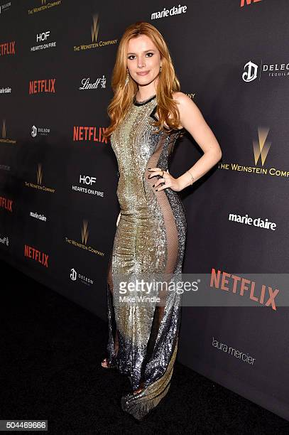 Actress Bella Thorne attends The Weinstein Company and Netflix Golden Globe Party presented with DeLeon Tequila Laura Mercier Lindt Chocolate Marie...