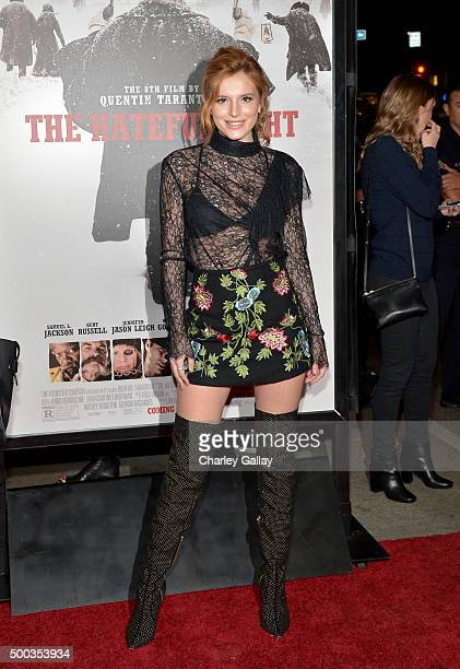 Actress Bella Thorne attends the world premiere of The Hateful Eight presented by The Weinstein Company at ArcLight Cinemas Cinerama Dome on December...