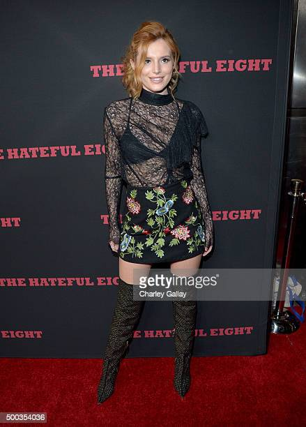 Actress Bella Thorne attends the world premiere of 'The Hateful Eight' presented by The Weinstein Company at ArcLight Cinemas Cinerama Dome on...