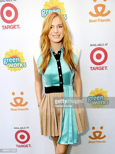 Actress Bella Thorne celebrates the Green Works Muddy Puppy video premiere at the Palihouse Hotel in Los Angeles Calif on October 2 2014 The Muddy...