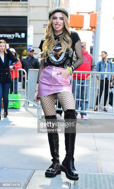 Actress Bella Thorne enters the 'AOL Build' taping at the AOL Studios on April 18, 2017 in New York City.