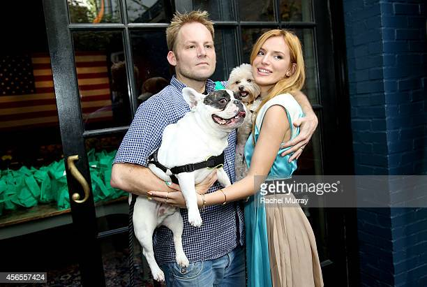 Actress Bella Thorne her dog Kingston and guests celebrate the Green Works Muddy Puppy video premiere at the Palihouse Hotel in Los Angeles Calif on...
