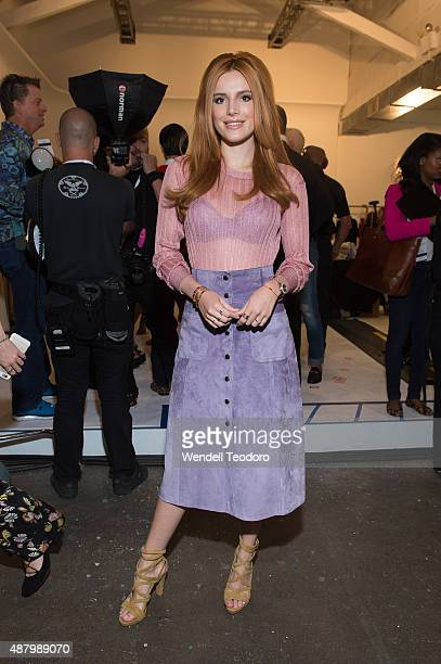 Actress Bella Thorne poses backstage before the Jill Stuart show at Industria Studios as part of the Spring 2016 New York Fashion Week on September...