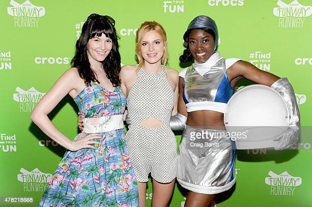 Actress Bella Thorne poses with models at the Crocs Funway Event on June 23 2015 in New York City