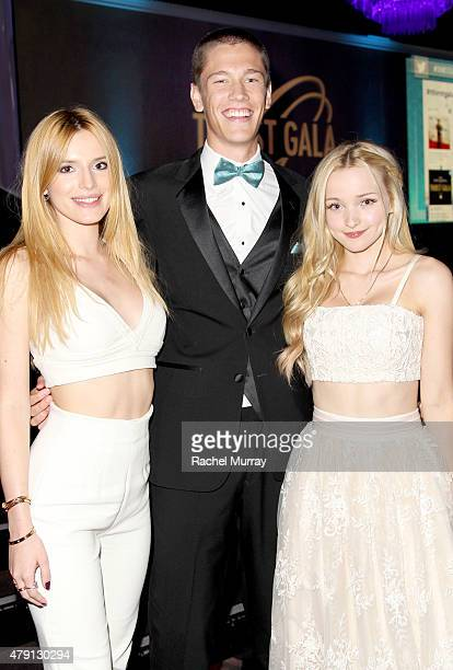 Actress Bella Thorne Power of Youth award recipient Harrison Kelly and actress Dove Cameron attend the 6th Annual Thirst Gala at The Beverly Hilton...