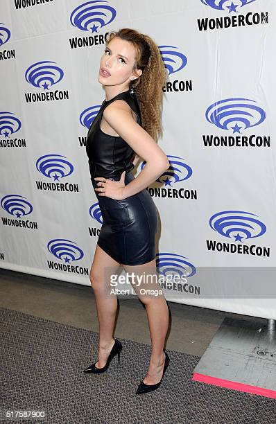 Actress Bella Thorne promoting 'Ratchet and Clank' on Day 1 of WonderCon held at Los Angeles Convention Center on March 25 2016 in Los Angeles...