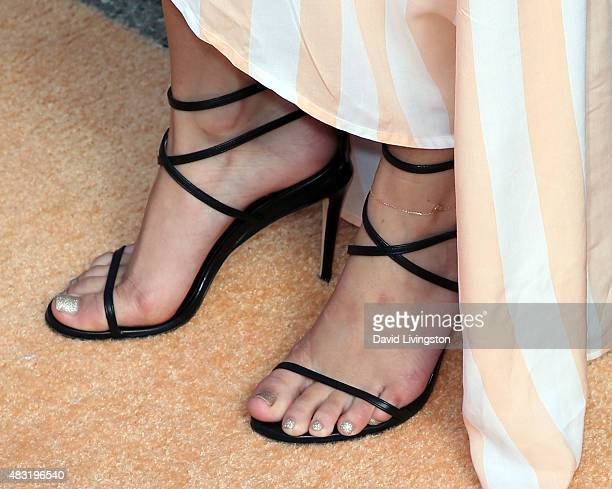 Actress Bella Thorne shoe detail hosts the Wildfox fragrance launch event at the Wildfox flagship store on August 6 2015 in West Hollywood California