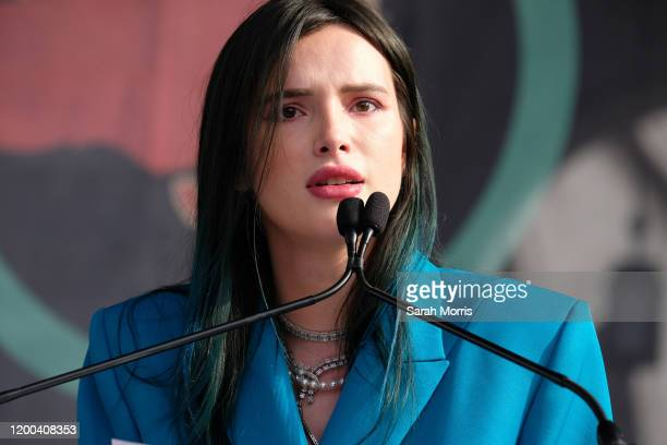 Actress Bella Thorne speaks at the 4th Annual Women's March LA: Women Rising at Pershing Square on January 18, 2020 in Los Angeles, California.