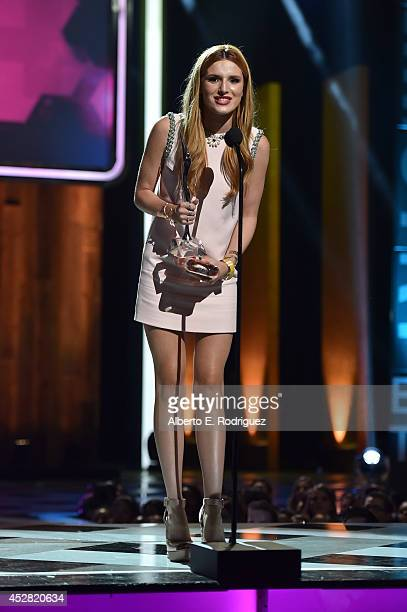 Actress Bella Thorne speaks onstage at the 2014 Young Hollywood Awards brought to you by Samsung Galaxy at The Wiltern on July 27 2014 in Los Angeles...
