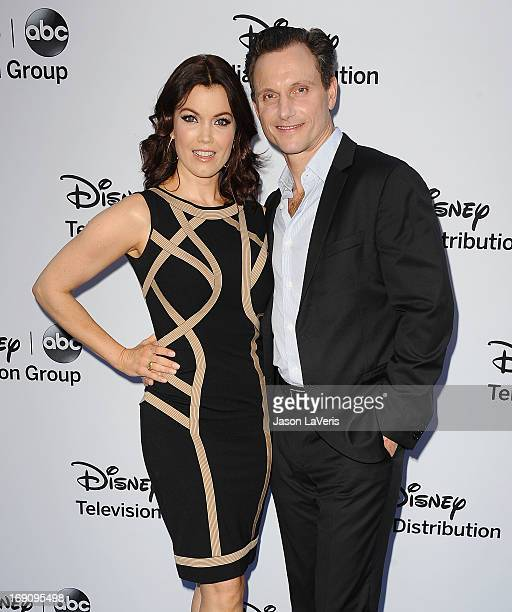 Actress Bellamy Young and actor Tony Goldwyn attend the Disney Media Networks International Upfronts at Walt Disney Studios on May 19 2013 in Burbank...