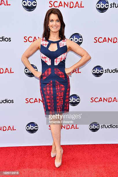 Actress Bellamy Young arrives at the Season 2 finale screening of 'Scandal' hosted by The Academy of Television Arts Sciences at the Leonard H...