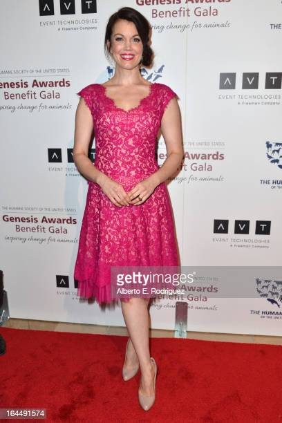 Actress Bellamy Young arrives to the 2013 Genesis Awards Benefit Gala at The Beverly Hilton Hotel on March 23 2013 in Beverly Hills California