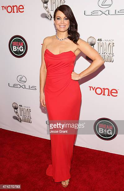 Actress Bellamy Young attends the 45th NAACP Image Awards presented by TV One at Pasadena Civic Auditorium on February 22 2014 in Pasadena California