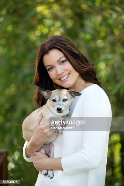 Actress Bellamy Young is photographed with her dog Bean for USA Today's Pet Guide on March 13 2017 at home in Los Angeles California COVER IMAGE