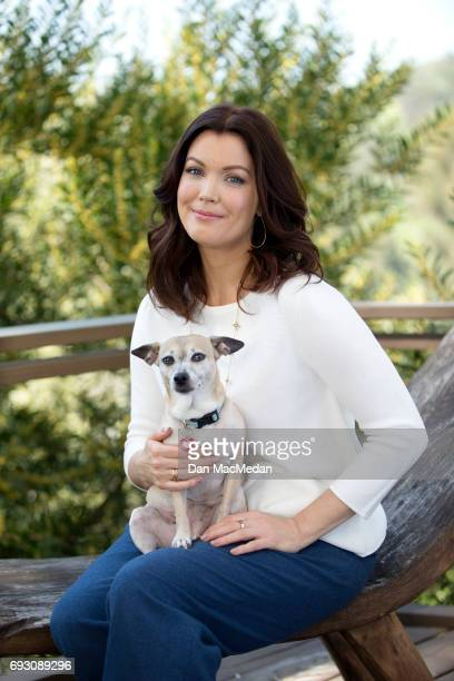 Actress Bellamy Young is photographed with her dog Bean for USA Today's Pet Guide on March 13 2017 at home in Los Angeles California