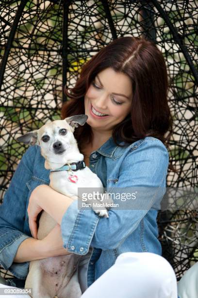 Actress Bellamy Young is photographed with her dog Bean for USA Today's Pet Guide on March 13 2017 at home in Los Angeles California PUBLISHED IMAGE