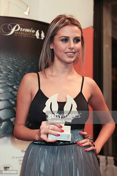 Actress Benedetta Valanzano shows her award during the '2009 Margutta Awards' at Margutta RistorArte on November 24 2009 in Rome Italy